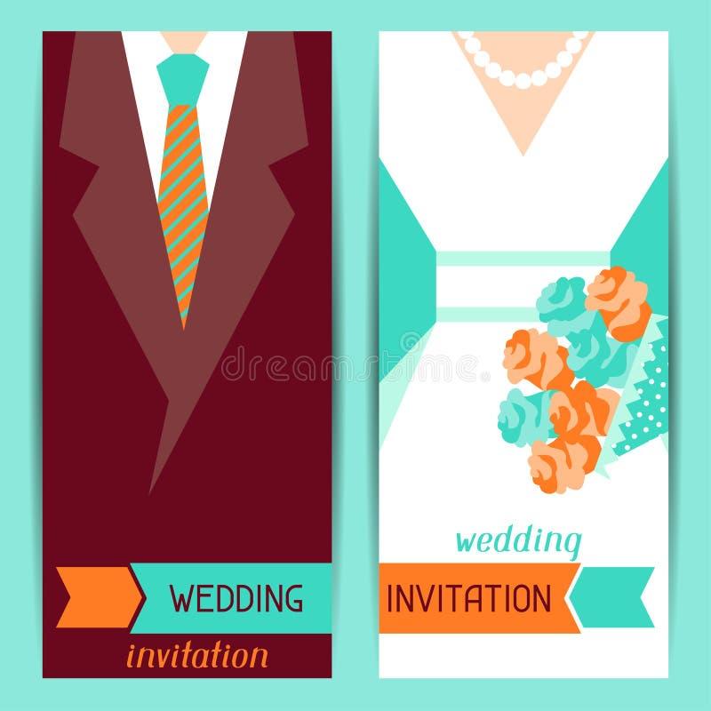 Ślubne zaproszenia vertical karty w retro stylu ilustracji