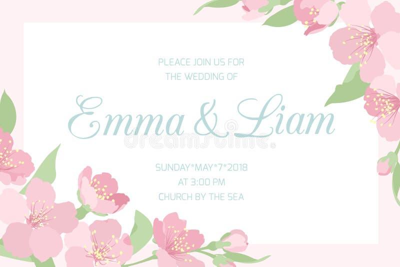 Ślubne zaproszenie menchie czereśniowy Sakura horyzontalny ilustracja wektor