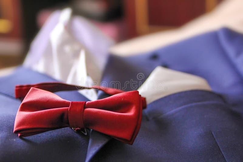 Ślubnego kostiumu motyli krawat zdjęcie stock