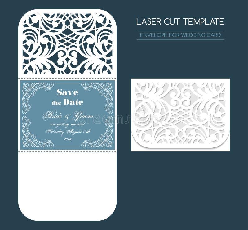 Ślubnego laseru rżnięta koperta ilustracja wektor