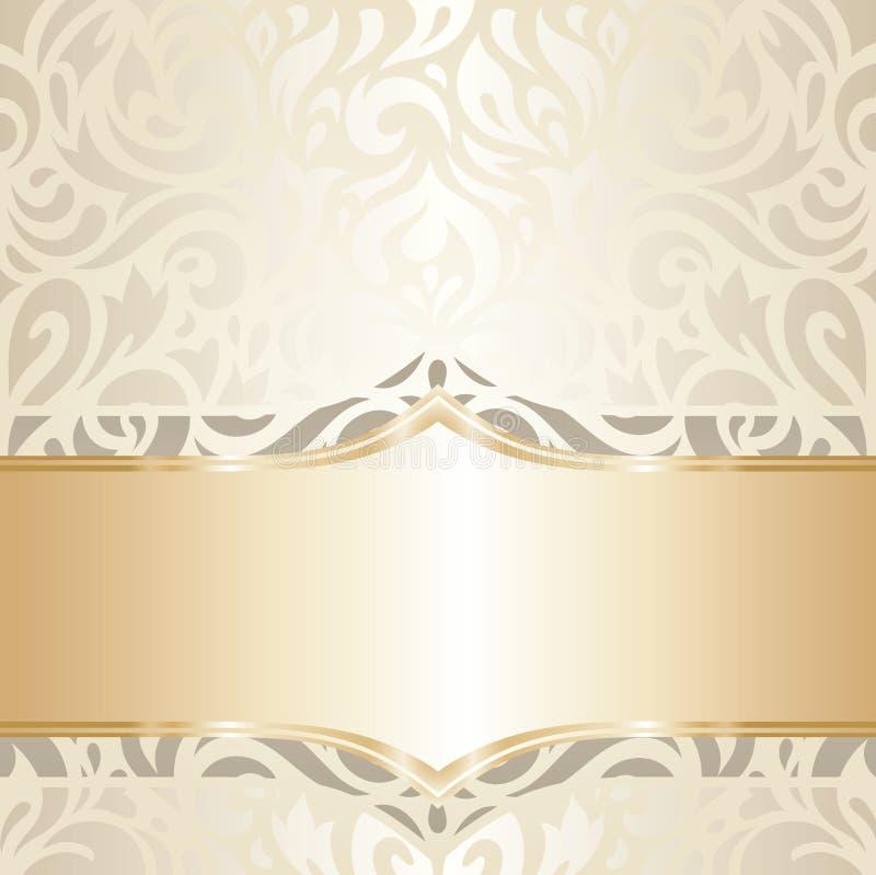 Ślubnego rocznika tapetowego projekta biały & złocisty wektor royalty ilustracja