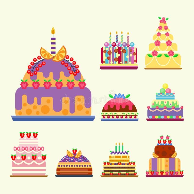 Ślubnego torta cukierków piekarni pasztetowego deserowego płaskiego prostego stylowego ciasta domowej roboty wyśmienicie wektorow ilustracja wektor