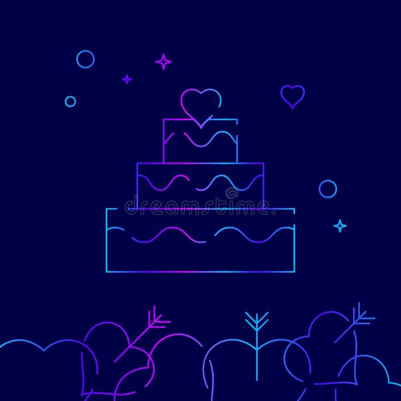Ślubnego torta wektoru linii ikona, symbol, piktogram, znak na zmroku - błękitny tło Powiązana dno granica ilustracja wektor