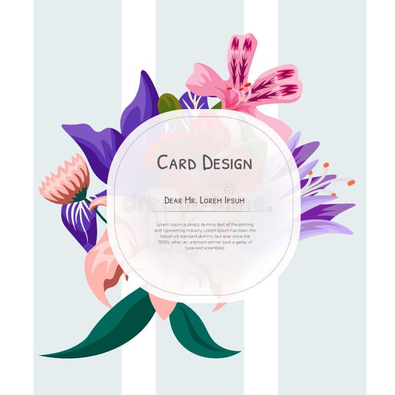 Ślubnego wydarzenia zaproszenia karciany projekt z Tropikalnymi kwiatami, zaprasza dziękuje ciebie, rsvp wydarzenia kart nowożytn royalty ilustracja