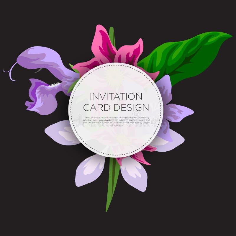 Ślubnego wydarzenia zaproszenia karciany projekt z Tropikalnymi kwiatami, zaprasza dziękuje ciebie, rsvp nowożytny karciany proje ilustracji