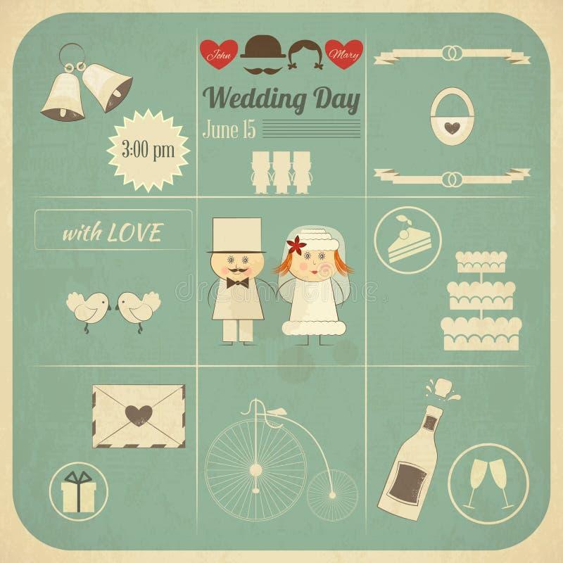 Ślubnego zaproszenia Infographics Retro karta ilustracja wektor