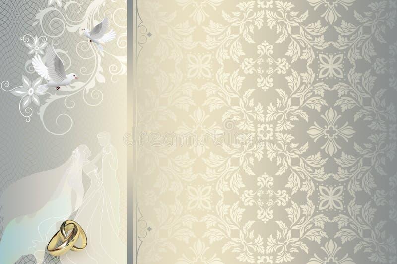 Ślubnego zaproszenia karciany projekt ilustracja wektor