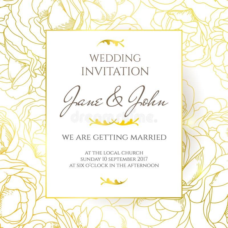Ślubnego zaproszenia projekta wektorowy szablon ilustracja wektor