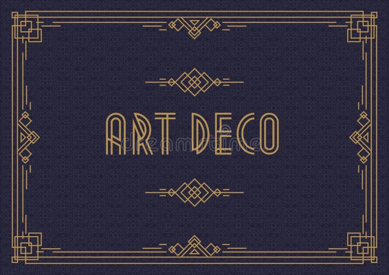 Ślubnego zaproszenie karty szablonu art deco horyzontalny styl z ramowym złocistym kolorem ilustracji
