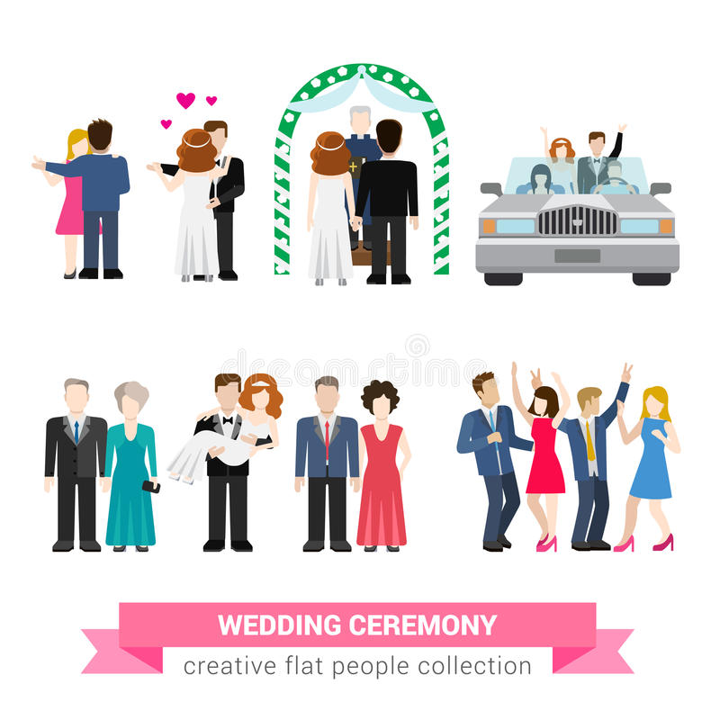 Ślubnej ceremonii małżeństwa płaski wektor: panna młoda, fornal, goście royalty ilustracja