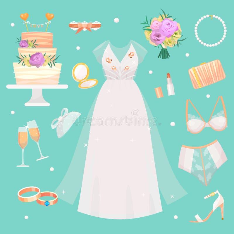 Ślubnej ceremonii mody panny młodej sukni i akcesoria prysznic bridal wystroju ustalony wektor royalty ilustracja