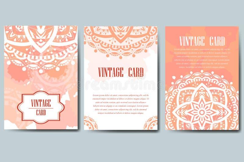 Ślubnej karty kolekcja Szablon zaproszenie karta Dekoracyjny powitanie projekt dla dziękuje ciebie karcianego, save daktylową kar ilustracja wektor