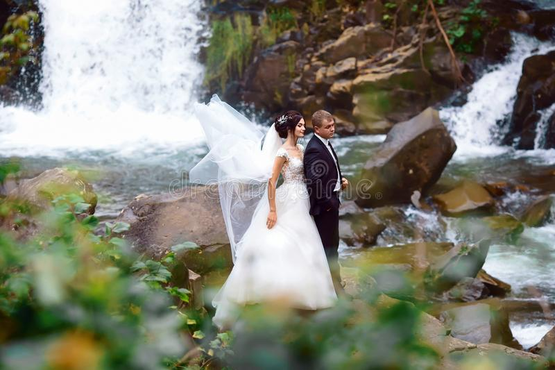 Ślubnej Pięknej pary panny młodej sukni młodej dziewczyny Brutalny fornal Elegancki mężczyzna w kostiumu na natura krajobrazu tle obrazy stock