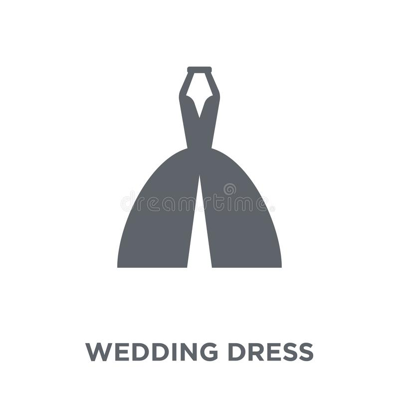 Ślubnej sukni ikona od ślubu i miłości kolekcji royalty ilustracja