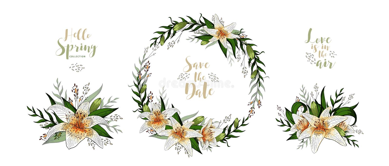 Ślubnej zaproszenie karty lelui kwiecisty bukiet i literowanie