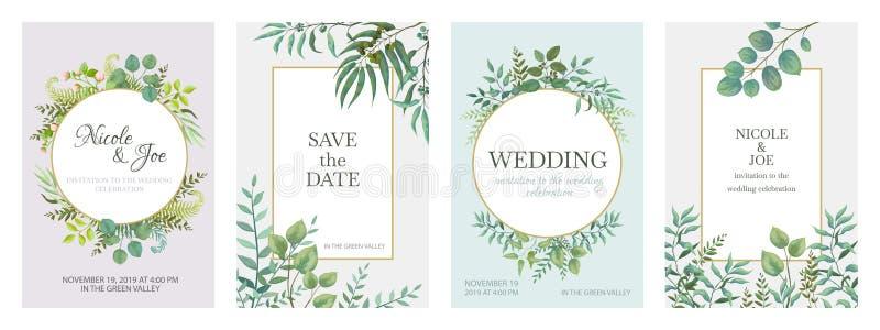 Ślubni greenery plakaty Kwieciste zielone zaproszenie karty z wieśniaka ogródem rozgałęziają się i opuszczają Wektorowy modny euk royalty ilustracja