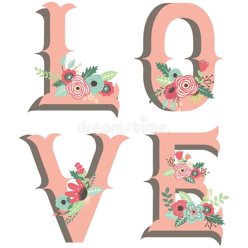 Ślubni kwiat miłości projekta elementy ilustracja wektor
