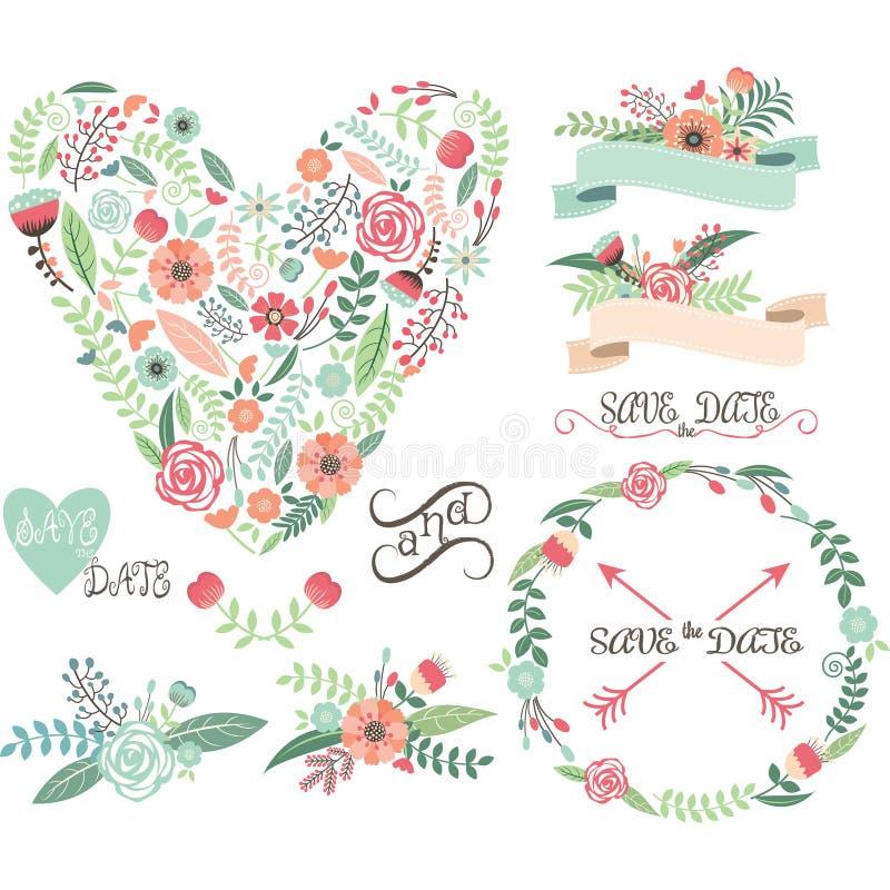Ślubni Kwieciści Graficzni elementy Etykietki, faborki, serca, strzała, kwiaty, wianki, bobek royalty ilustracja