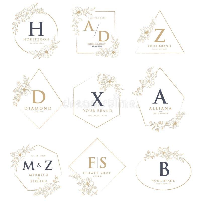 Ślubni logo z kwiecistymi dekoracjami royalty ilustracja