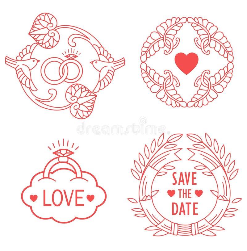 Ślubni monogramy Kreskowi projektów elementy Dla zaproszenia, Dekorują, ramy I granicy W Nowożytnym stylu ilustracja wektor