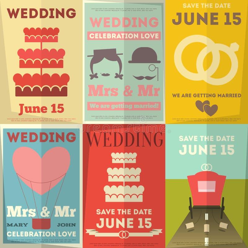 Ślubni plakaty Ustawiający ilustracji