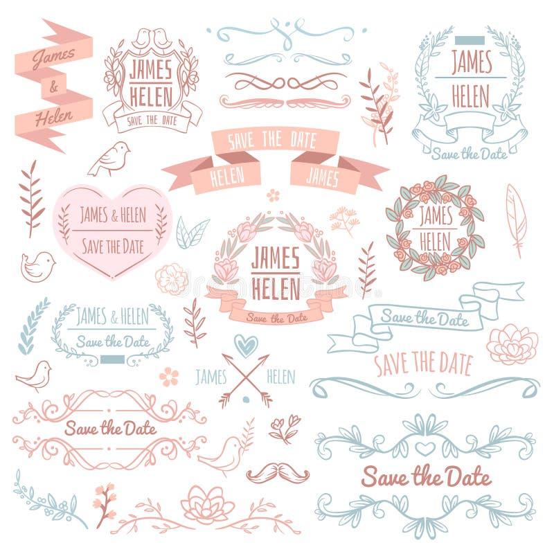 Ślubni retro wektorowi elementy dla zaproszenie karty Nieociosany kwiecisty elegancki projekt royalty ilustracja