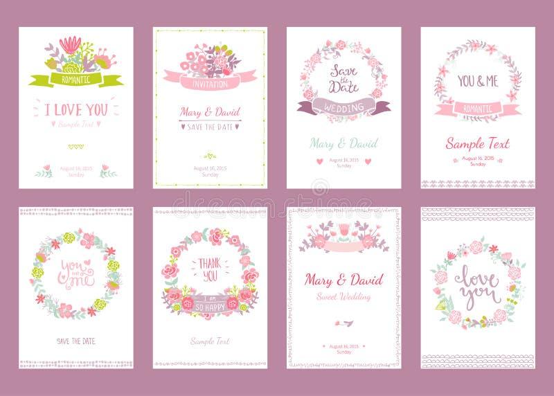 Ślubni roczników elementy ilustracji