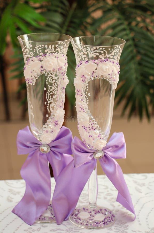 Ślubni szampańscy szkła fotografia royalty free