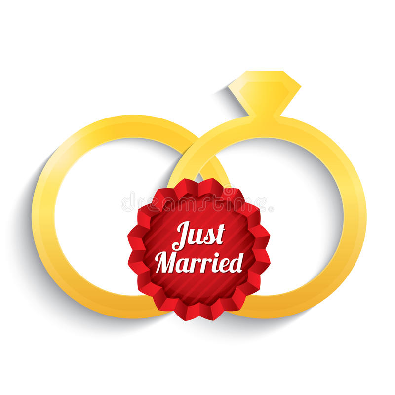 Ślubni złociści pierścionki. Właśnie zamężna etykietka. ilustracji