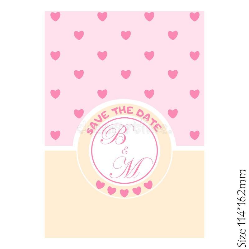 Ślubni zaproszenia - save z serce kartami ilustracji