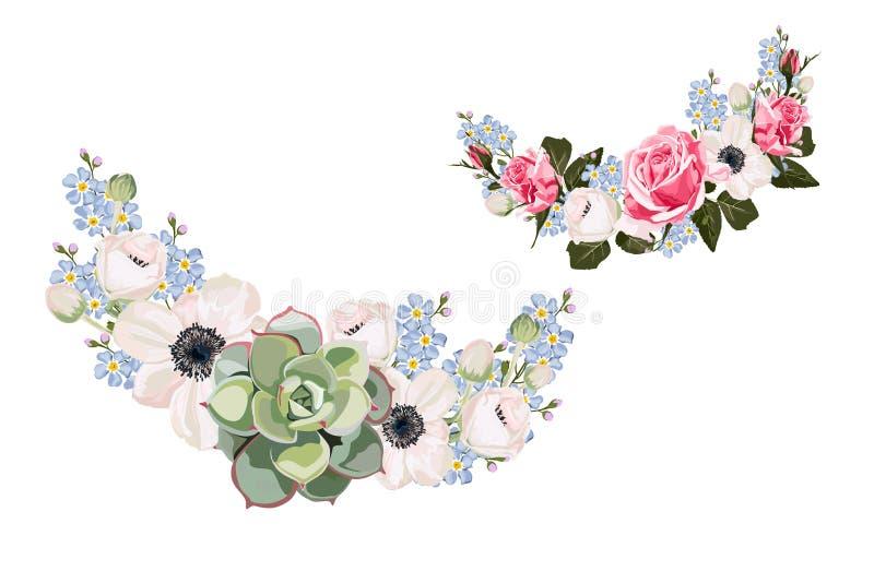 Ślubni zaproszenie elementy, kwieciści zapraszają dziękują was, rsvp nowożytny karciany projekt: anemony, niezapominajka kwiaty,  ilustracji