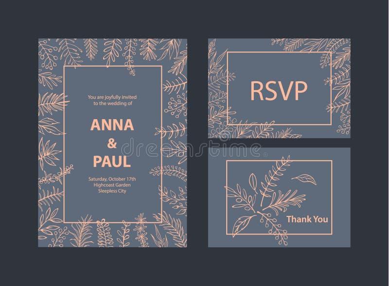 Ślubni zaproszenie szablony ustawiający z kwiecistego liścia gałąź kapują royalty ilustracja