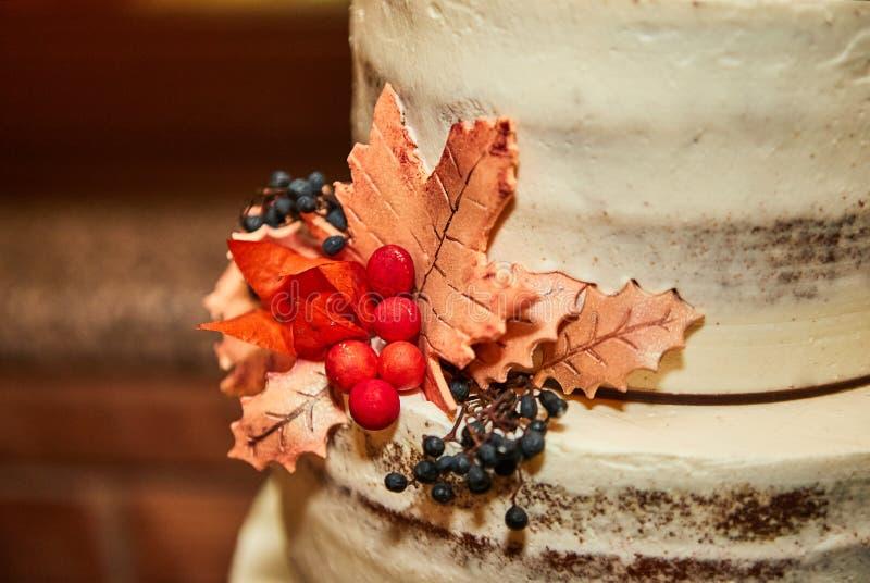 Ślubny świąteczny kondygnacja tort w białym brzmieniu zdjęcie stock