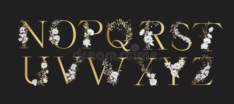 Ślubny abecadło Inicjały z botanicznymi elementami Monograma przygotowania royalty ilustracja