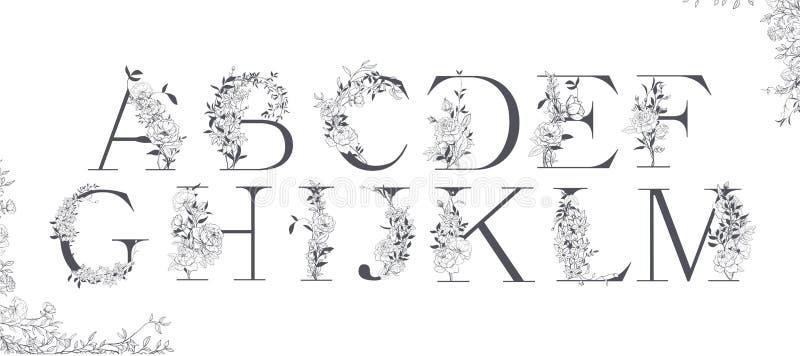 Ślubny abecadło Inicjały z botanicznymi elementami Monograma przygotowania ilustracja wektor