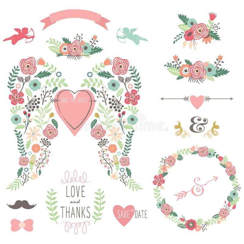 Ślubny anioła skrzydła rocznik Kwitnie wianek ilustracji