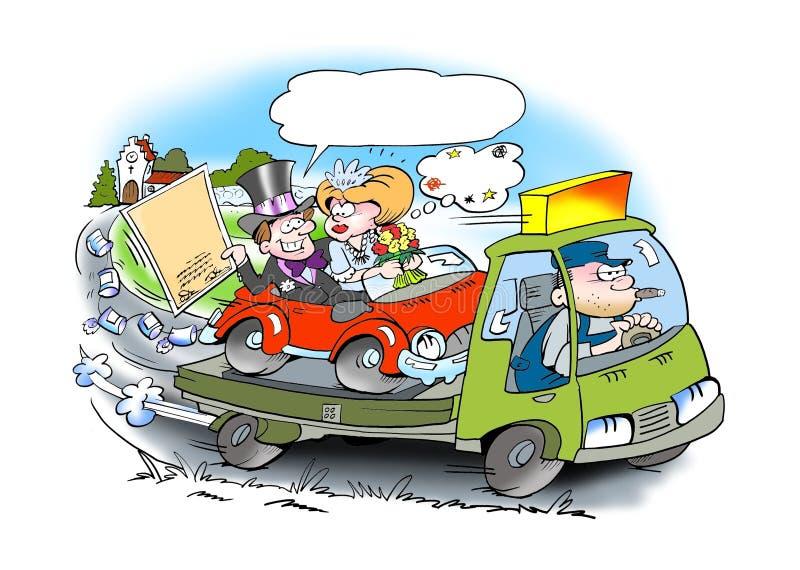 Ślubny auto pomocy jeżdżenie ilustracji