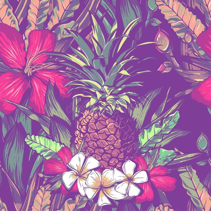 Ślubny bezszwowy deseniowy projekt z egzotycznymi tropikalnymi kwiatami i urlopem ilustracja wektor