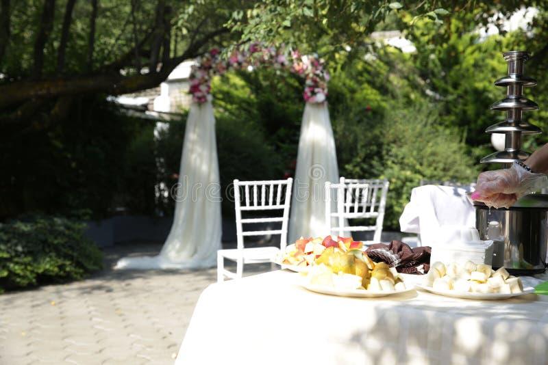 Ślubny bufet owoc i łuk kolorowi kwiaty i róże z powietrznym jedwabniczej tkaniny stojakiem pod zielonym drzewem fotografia stock