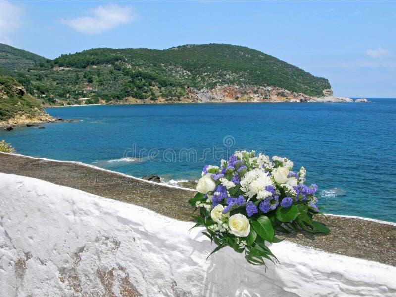 Ślubny bukiet, morze, Grecja, Skopelos zdjęcia stock