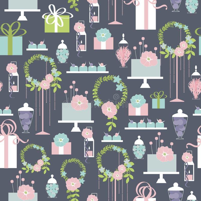 Ślubny cukierku bar z tortem i kwiatami royalty ilustracja