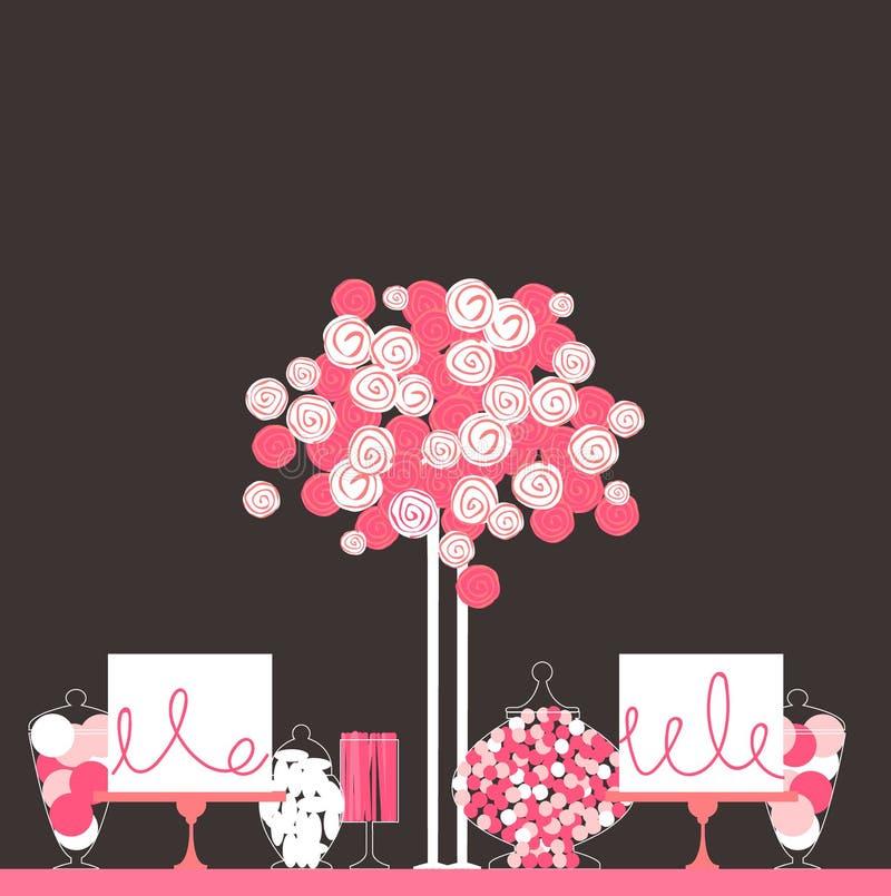 Ślubny cukierku bufet z tortem i kwiatami ilustracja wektor