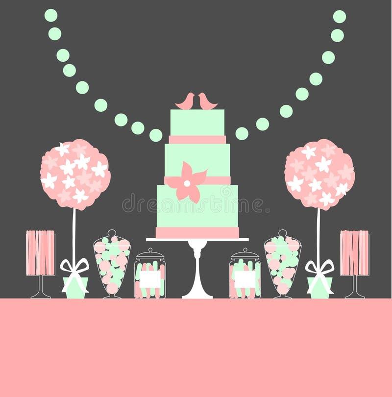 Ślubny deseru bar z tortem i kwiatami royalty ilustracja