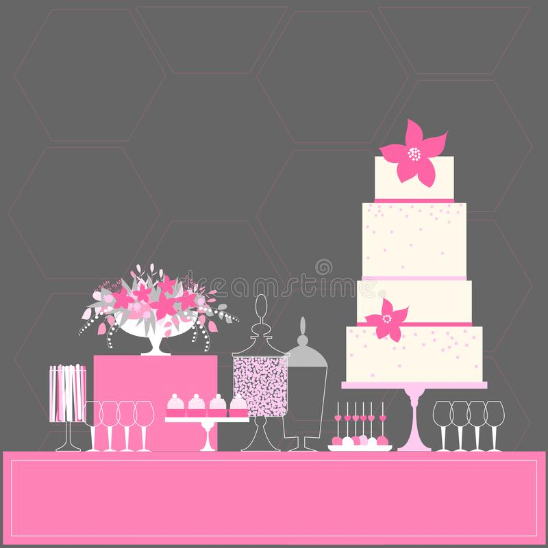 Ślubny deseru bar z tortem tabela słodycze ilustracja wektor