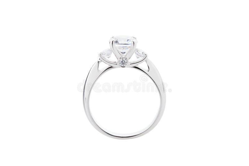 Ślubny diamentowy pierścionek odizolowywający na białym tle obraz royalty free