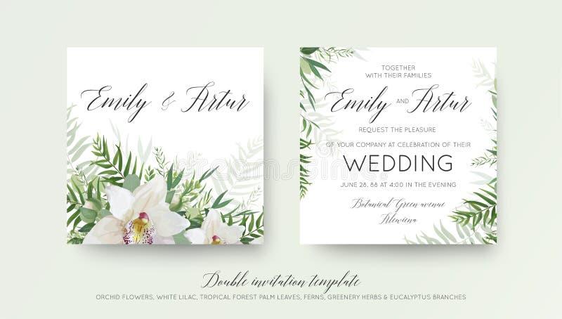 Ślubny dwoisty zaproszenie, zaprasza karcianego projekt z eleganckim bielem royalty ilustracja