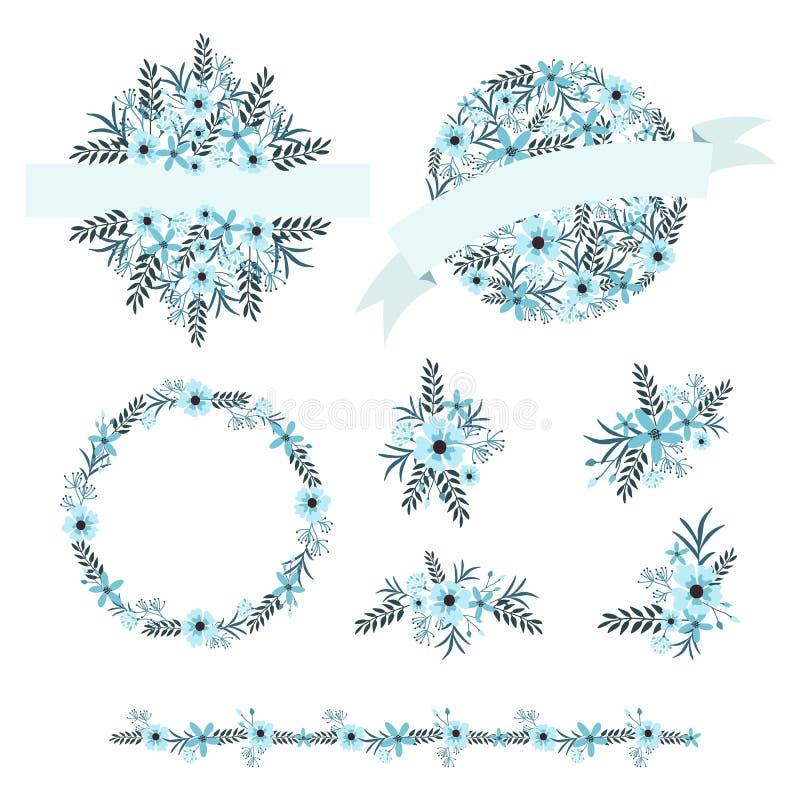 Ślubny graficzny wektoru set, kwiatów wianki, bukiety, obramia i graniczy royalty ilustracja