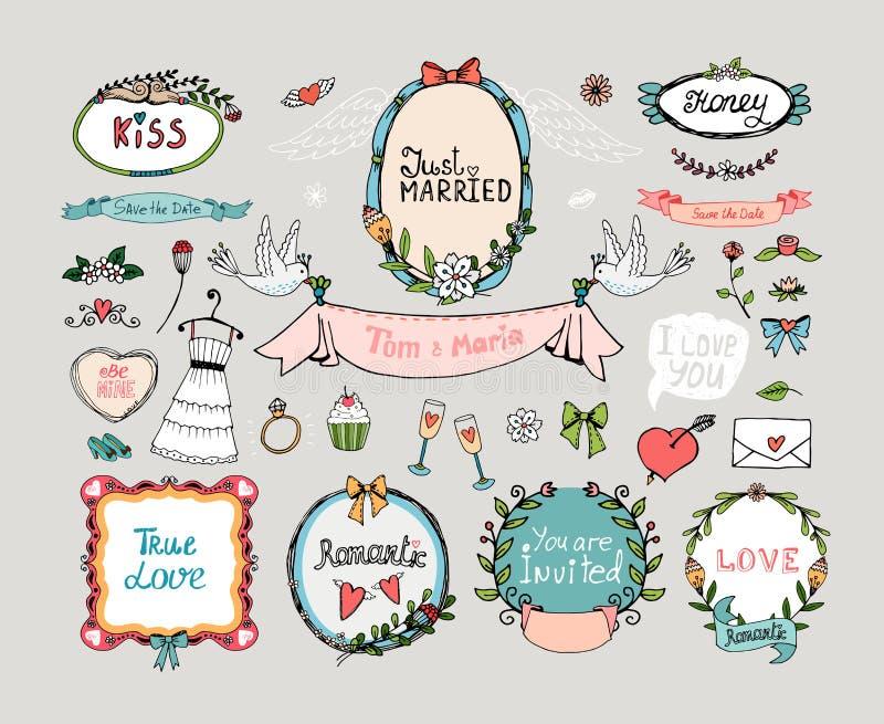 Ślubny grafika set royalty ilustracja