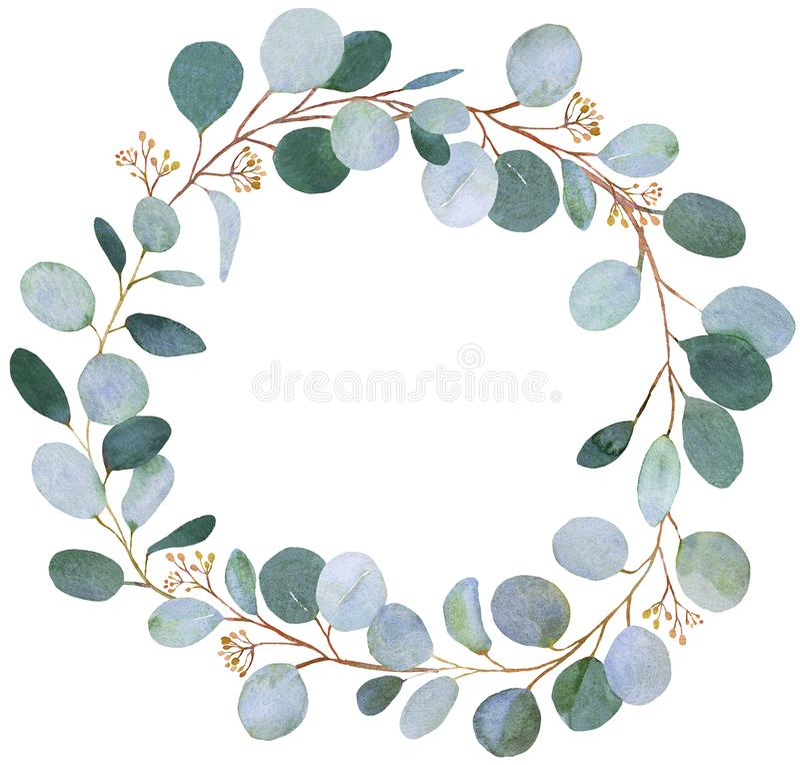 Ślubny greenery Eucalkyptus wianek royalty ilustracja
