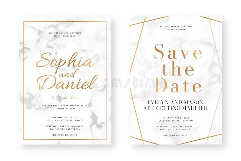 Ślubny karciany projekt z złotymi ramami i marmurową teksturą Ślubny zawiadomienia lub zaproszenia projekta szablon ilustracja wektor